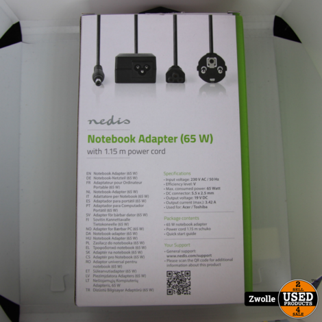 NBARF6501FBK | Nedis Notebook-Adapter 65 W | 5,5 x 2,5 mm | 19 V