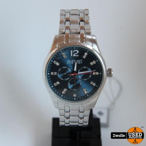 August steiner horloge   Zilver met blauwe wijzerplaat   Nieuw in doos