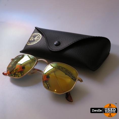RayBan zonnebril goud met bruine pootjes | met hoes