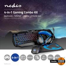 Nedis Nedis Gaming Combo Kit | 4-in-1 | Toetsenbord, Koptelefoon, muis en muismat