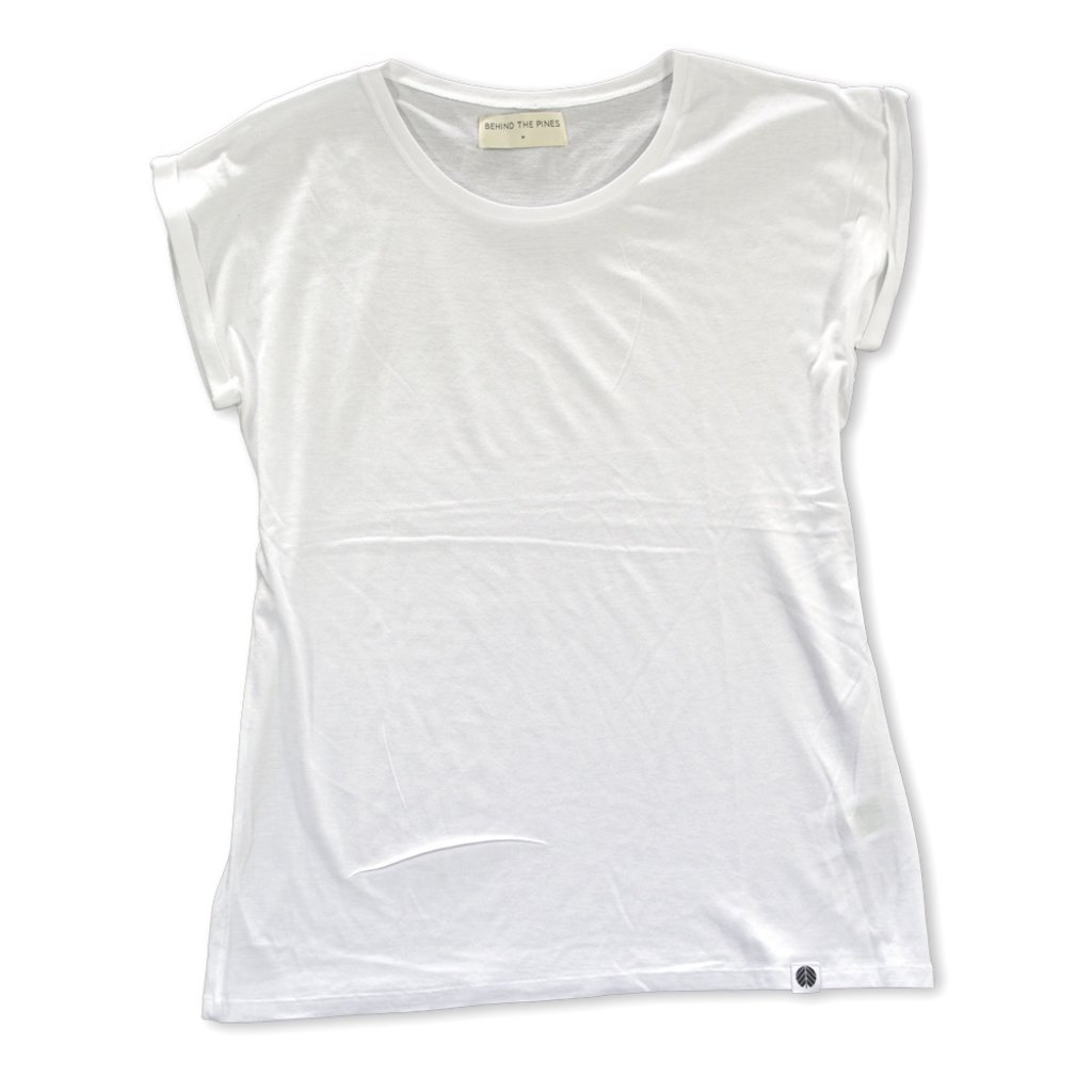 Behind The Pines Behind The Pines Bamboo Rolled Sleeve Tee White