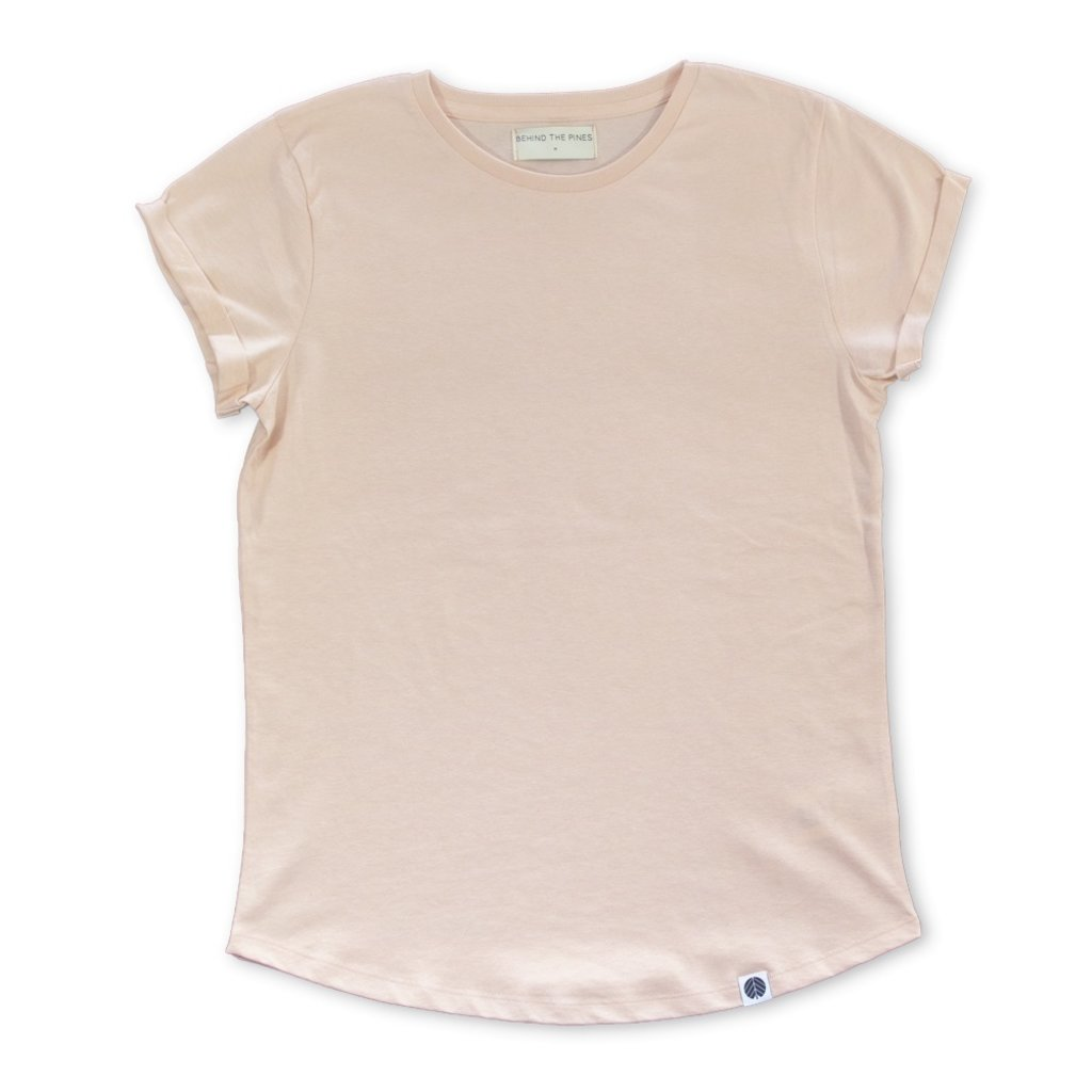 Behind The Pines Behind The Pines Recycled Rolled Sleeve Tee Dusty Pink
