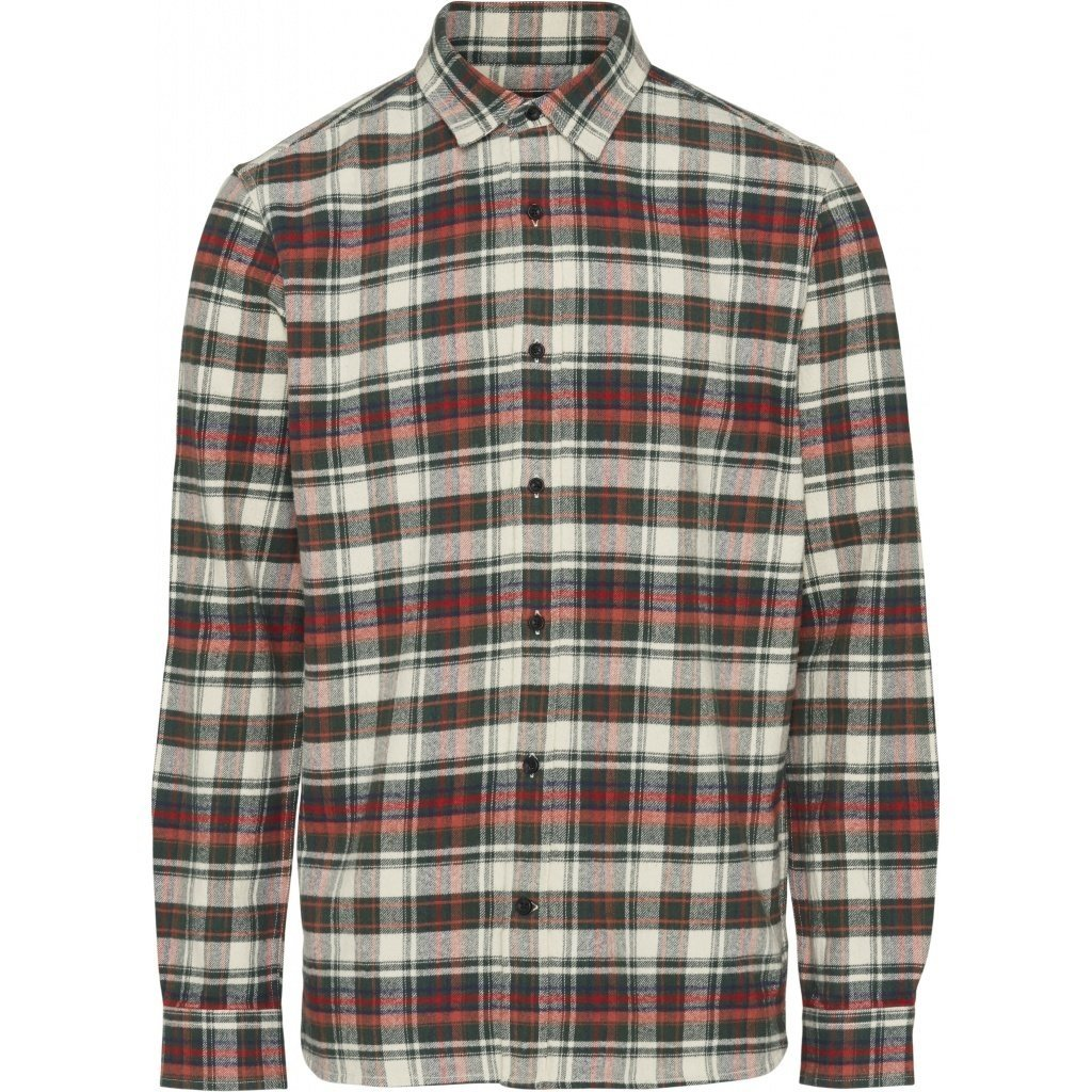 KnowledgeCotton Apparel Knowledge Cotton Apparel Checked Flannel Shirt Green Forest