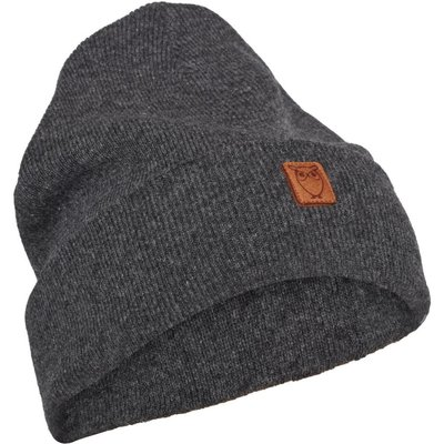 KnowledgeCotton Apparel Knowledge Cotton Apparel Beanie Organic Wool Dark Grey Melange