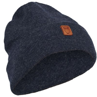 KnowledgeCotton Apparel Knowledge Cotton Apparel Beanie Organic Wool Insigna Blue