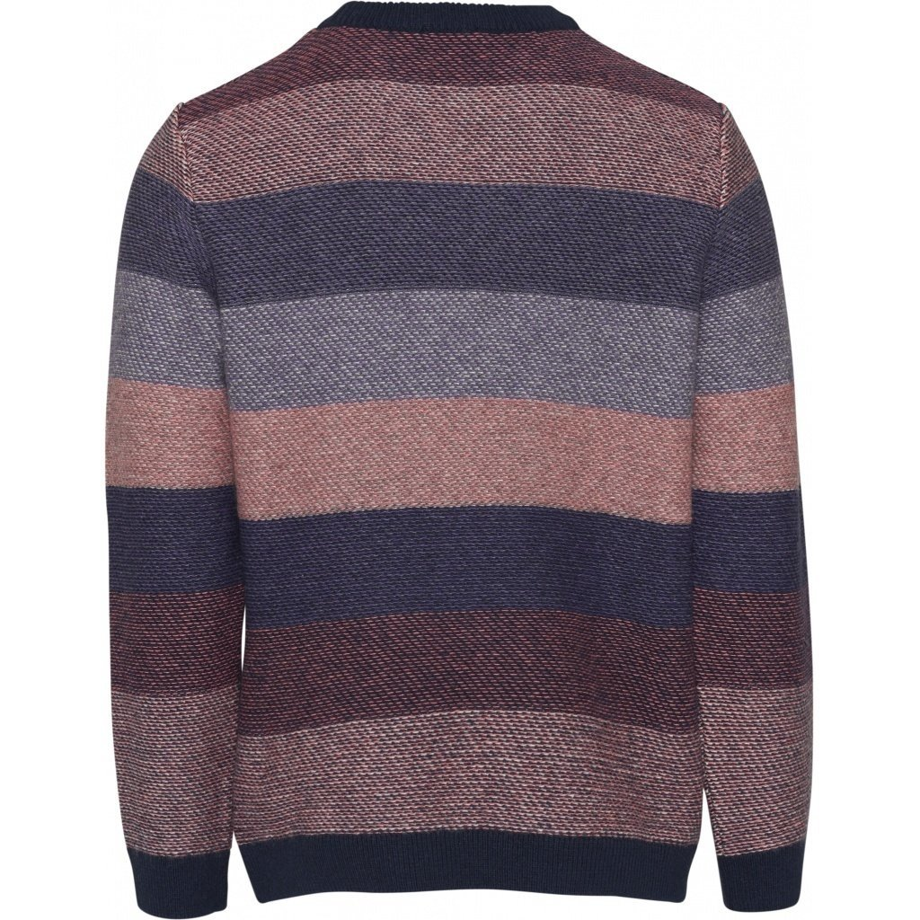 KnowledgeCotton Apparel Knowledge Cotton Apparel Multi Colored Striped o-neck knit