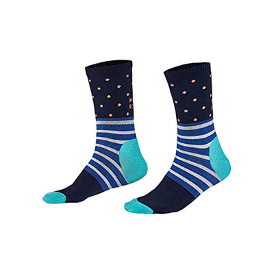 Mons Royale Mons Royale Womens All Rounder Spots Crew Sock Navy / Tropicana / Bright Blue