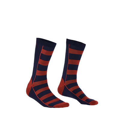 Mons Royale Mons Royale Mens All Rounder Stripes Crew Sock Navy / Bright Red