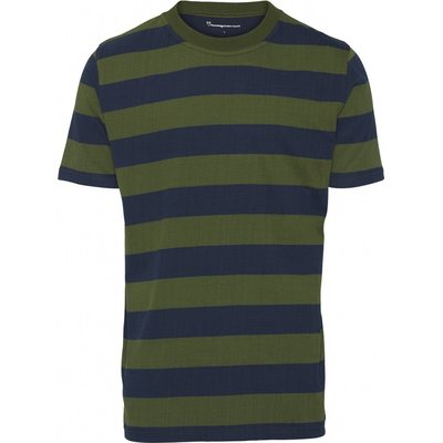 Knowledge Cotton Apparel Knowledge Cotton Apparel Striped O-Neck Tee Green Forest