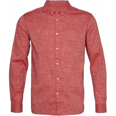 Knowledge Cotton Apparel Knowledge Cotton Apparel Larch LS Linen Shirt Scarlet