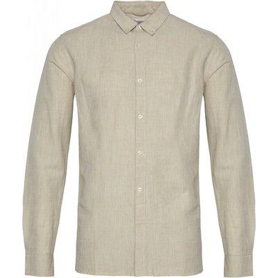 Knowledge Cotton Apparel Knowledge Cotton Apparel Larch LS Linen Shirt Light Feather Grey