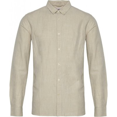 KnowledgeCotton Apparel Knowledge Cotton Apparel Larch LS Linen Shirt Light Feather Grey