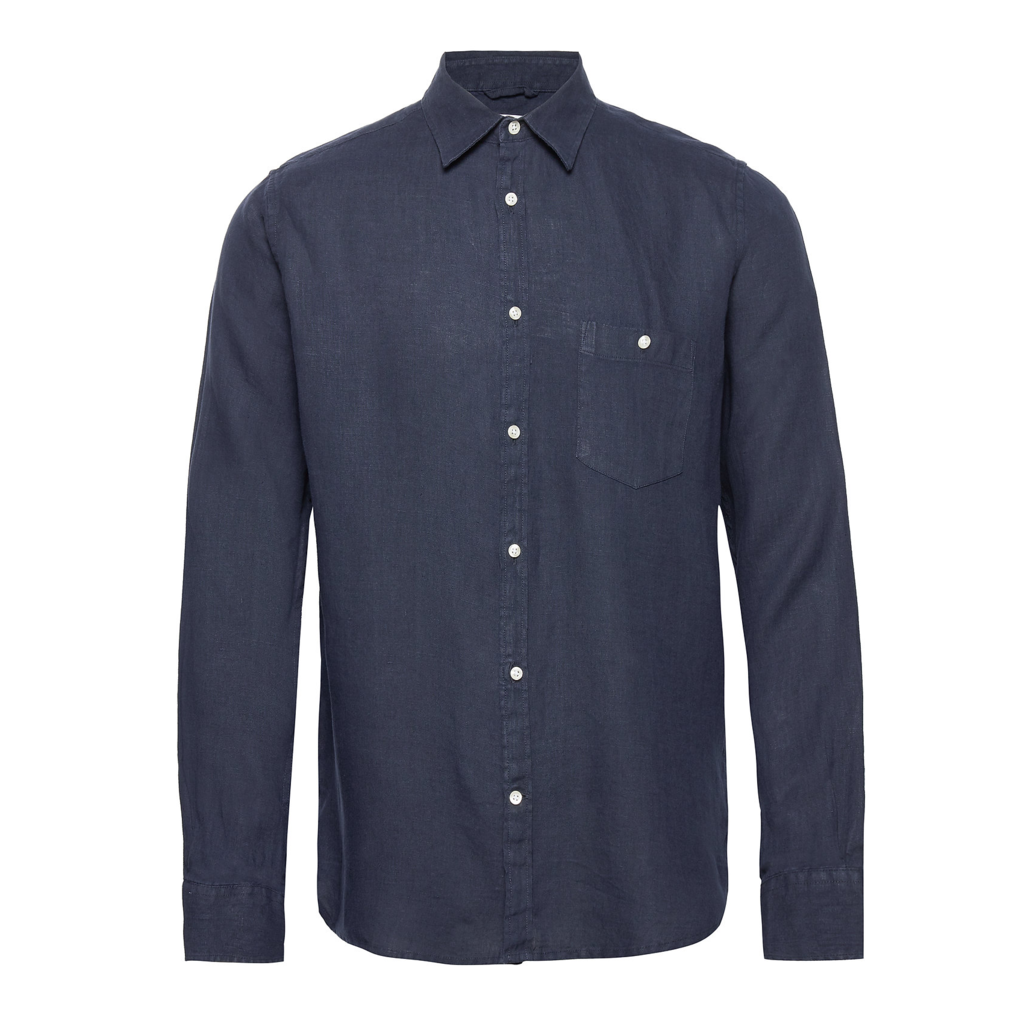 KnowledgeCotton Apparel Knowledge Cotton Larch LS Linen Shirt Total Eclipse