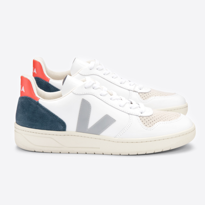 Veja Veja V-10 Leather Extra White / Oxford Grey / Orange Fluo