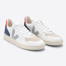 Veja Veja V-10 Leather Extra White / Oxford Grey / Orange Fluo