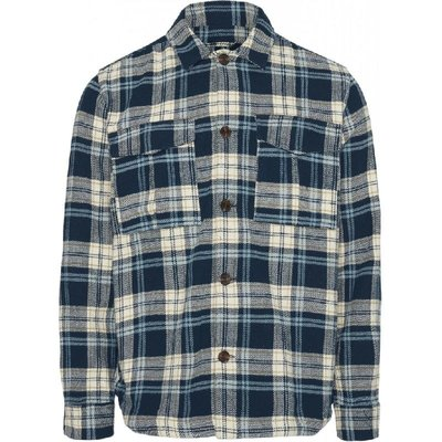 KnowledgeCotton Apparel KnowledgeCotton Apparel Pine Checked Overshirt Moonlight Ocean