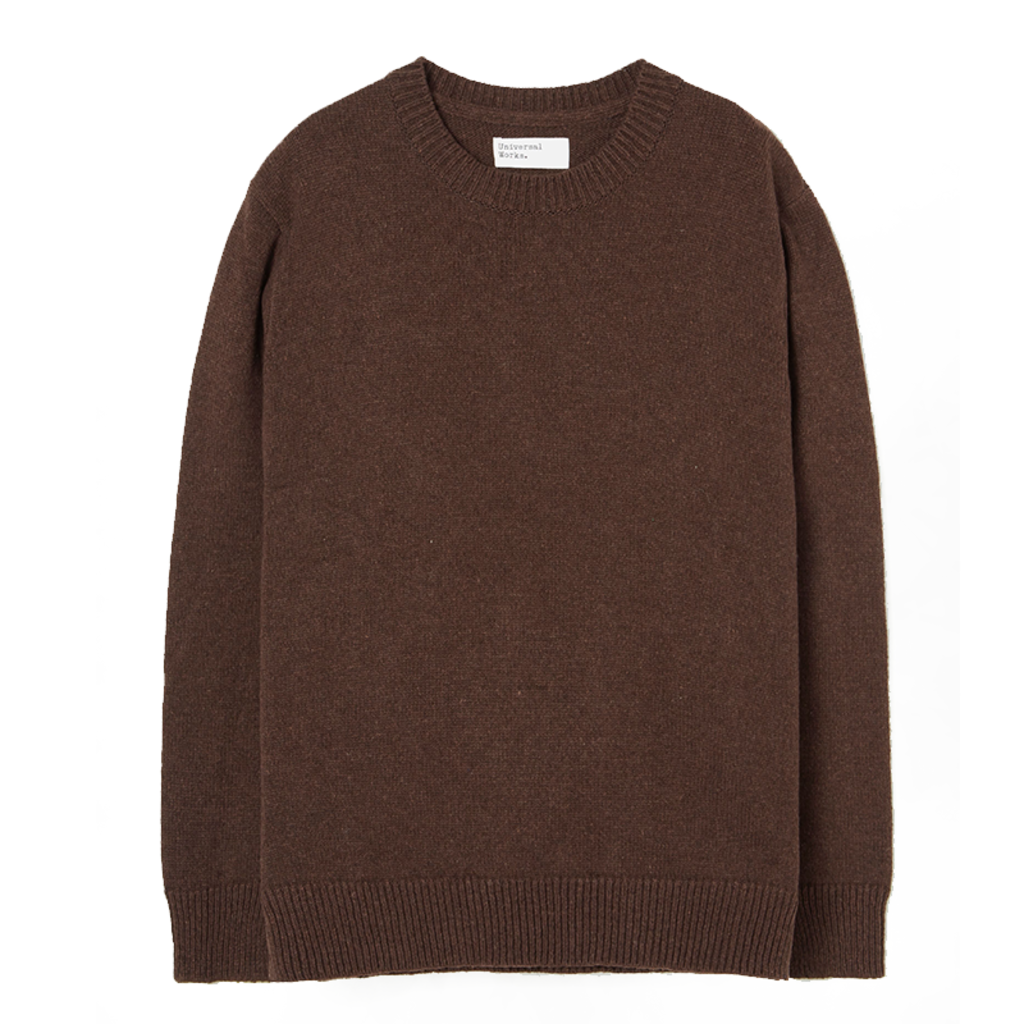 Universal Works Universal Works Recycled Wool Loose Crew Chocolate