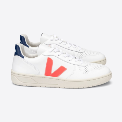 Veja Veja V10 Leather Extra White Orange Fluo / Cobalt