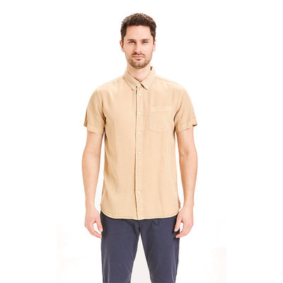 KnowledgeCotton Apparel KnowledgeCotton Apparel Larch Tencel SS Shirts Light Feather Gray