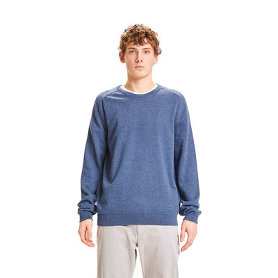 KnowledgeCotton Apparel KnowledgeCotton Apparel Field O-Neck Long Stable Cotton Knit Total Eclipse