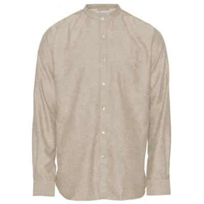 KnowledgeCotton Apparel KnowledgeCotton Apparel Larch Linen Stand Collar Shirt Light Feather Grey