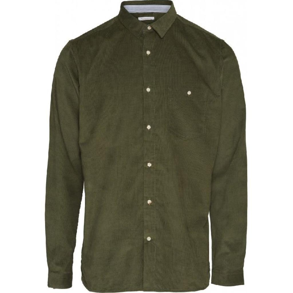 KnowledgeCotton Apparel KnowledgeCotton Apparel Elder Regular Fit Baby Cord Shirt Buckhorn Brown