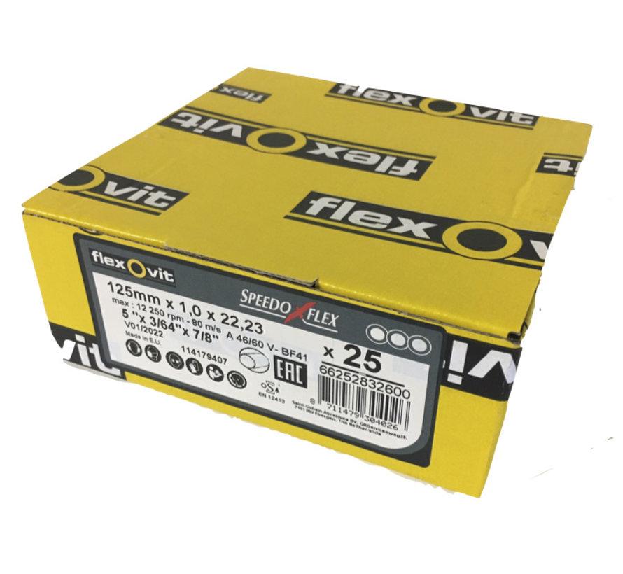 Flexovit doorslijpschijf voor staal en RVS 125x1x22 mm (verpakkings eenheid 25 stuks)