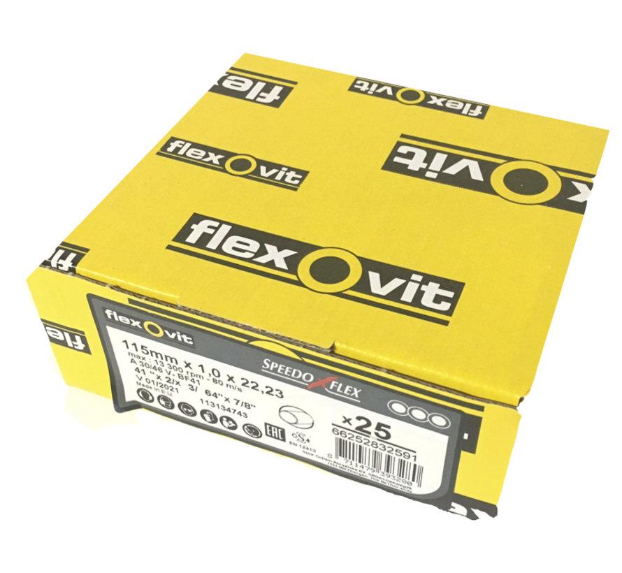 Flexovit doorslijpschijf voor staal 115x1x22 mm 1833 (verpakkings eenheid 25 stuks)