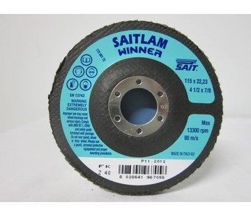 Sait Vlak- lamellenschijf 115 mm, K.40, verpakt per 10 stuks. Art.S7001