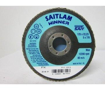 Sait Vlak- lamellenschijf 125 mm, K.40, verpakt per 10 stuks. Art.S8620
