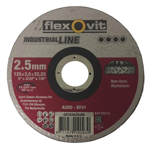 Flexovit Flexovit doorslijpschijf voor Non Ferro en Aluminium 125x2,5x22 mm (verpakkings eenheid 25 stuks)