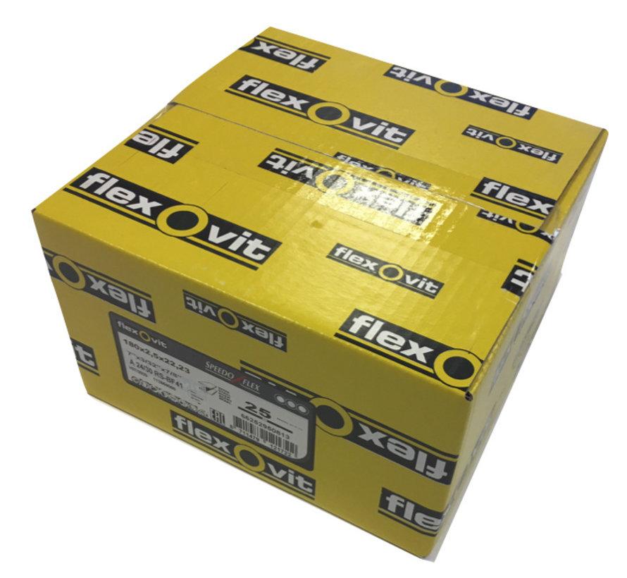 Flexovit doorslijpschijf voor staal en RVS 180x2,5x22 mm (verpakkings eenheid 25 stuks)