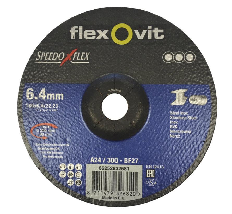 180x6,4x22 A24/30 Q-B27 flexovit afbraamschijven voor staal en RVS, type speedoflex  (verpakkingseenheid 10 stuks)