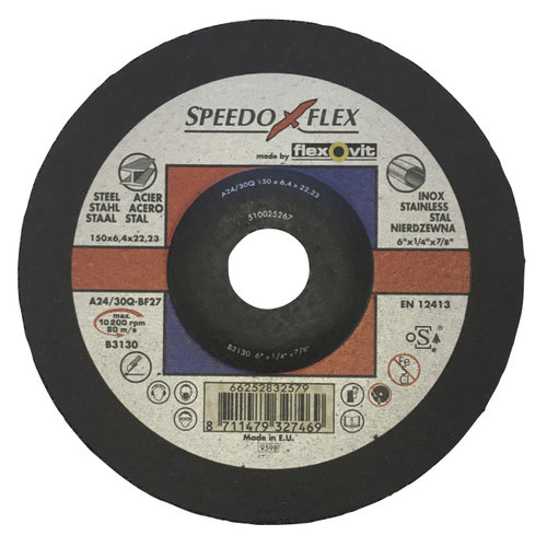 Flexovit 150x6,4x22 A24/30Q-BF27 flexovit afbraamschijven voor staal en RVS, type speedoflex (verpakkingseenheid 10 stuks)