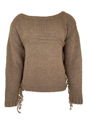 Transfer Pullover with Fringes - Camel