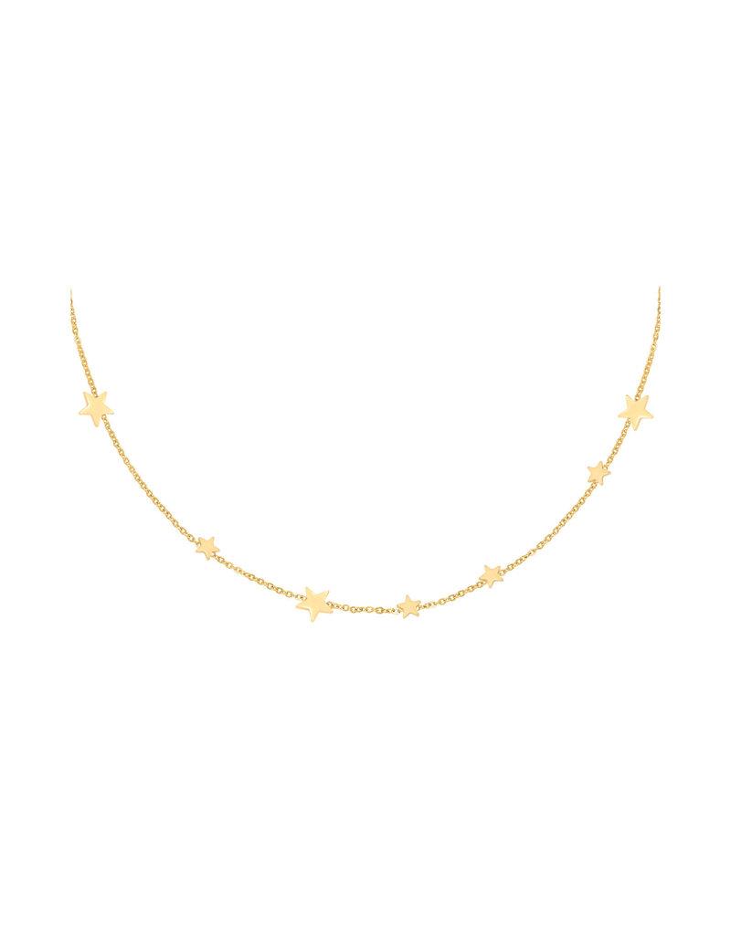 Necklace - Row Coins Stars Goud