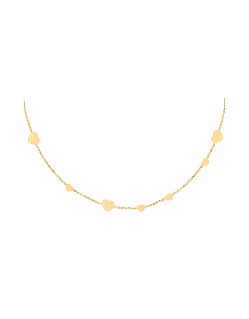 Necklace - Row Coins Heart Goud