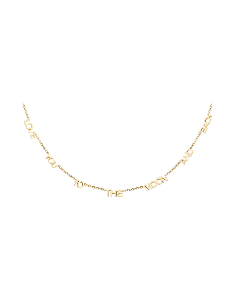 Necklace - Love you to the moon Goud