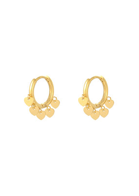 Earring - Floating Heart Goud