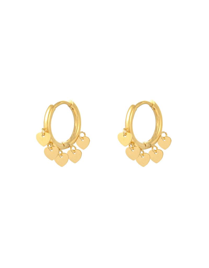 Earring - Floating Heart Goud