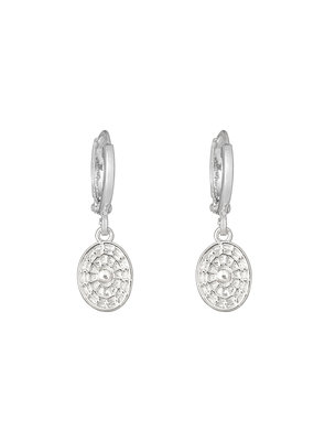 Earring - Oval Coin Zilver