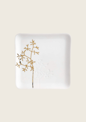 Gold Twig Plate - Wit