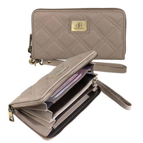 dR Amsterdam Clutch ritsportemonnee dR Mint taupe