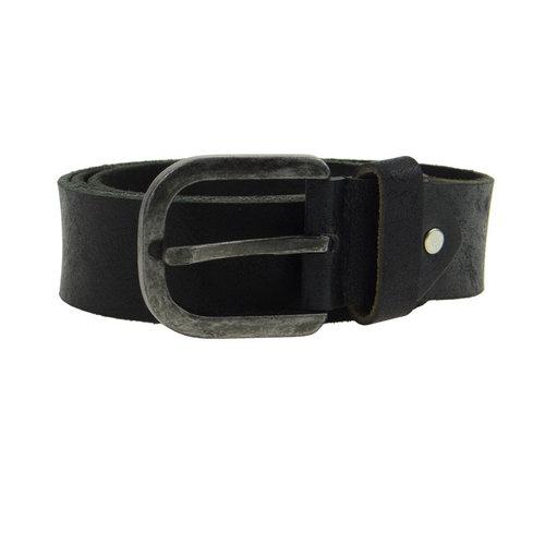 Hill Burry Leren riem zwart ronde gesp 4 cm