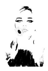 Dunnebier Home Poster Vrouw met bloem_tekening
