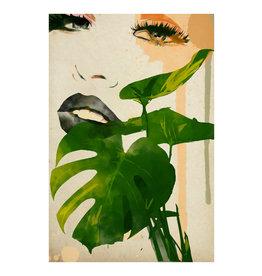 Dunnebier Home Poster Tekening van een vrouw met groen blad