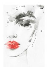Dunnebier Home Poster Aquarel van een vrouw met rode lippen