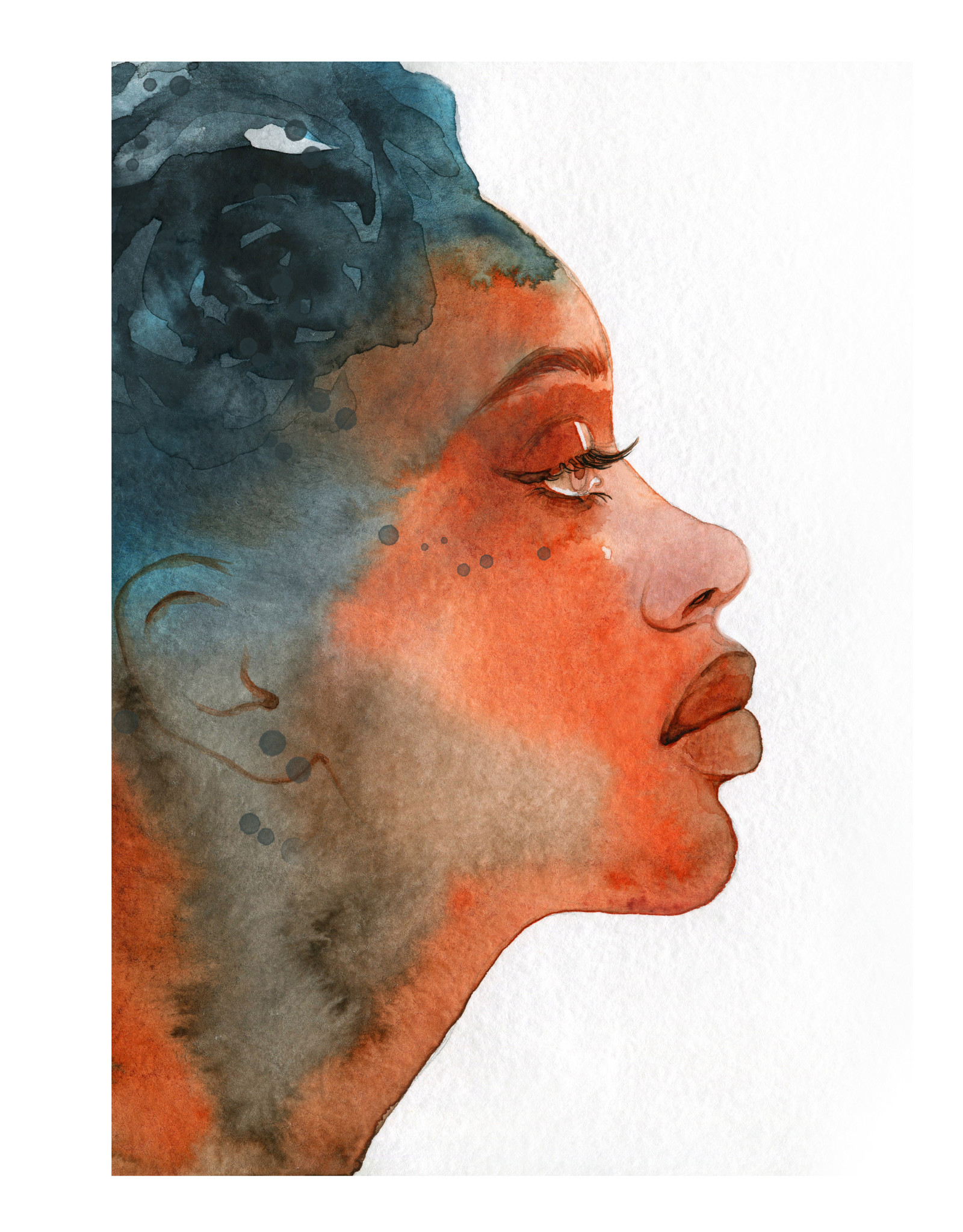 Dunnebier Home Poster Aquarel van een vrouw En Profil