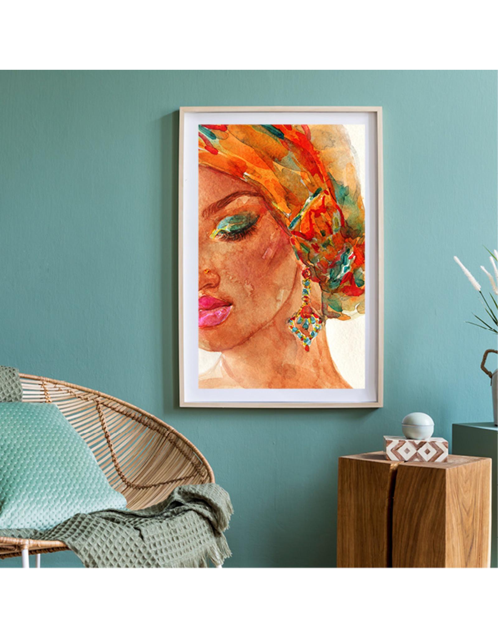 Dunnebier Home Poster aquarel van een vrouw met hoofddoek