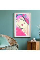 Dunnebier Home Poster Tekening van een vrouw in roze_No2